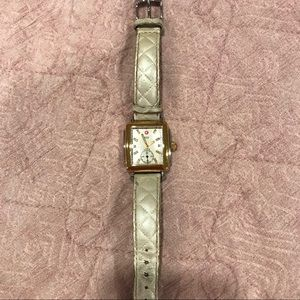 Michele two tone diamond deco watch